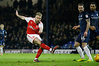 GOAL - Paddy Madden of Fleetwood Town shoots and scores during the Sky Bet League 1 match between Southend United and Fleetwood Town at Roots Hall, Southend, England on 13 January 2018. Photo by Carlton Myrie.