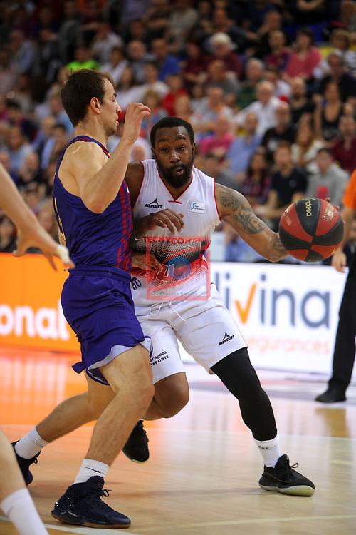 League ACB-ENDESA 201/2019.Game 38.<br /> PlayOff Semifinals.1st match.<br /> FC Barcelona Lassa vs Tecnyconta Zaragoza: 101-59.<br /> Bo McCalebb vs Kevin Pangos.