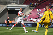 01.08.2015. Cologne, Germany. Pre Season Tournament. Colonia Cup. FC Cologne versus Stoke City. Timo Horn , playing the ball safely out to Frederik Sorensen, to start another counter attack.