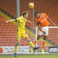 Blackpool's Nathan Delfouneso jumps with  Bristol Rovers' Tom Lockyer<br /> <br /> Photographer Mick Walker/CameraSport<br /> <br /> The EFL Sky Bet League One - Blackpool v Bristol Rovers - Saturday 3rd November 2018 - Bloomfield Road - Blackpool<br /> <br /> World Copyright © 2018 CameraSport. All rights reserved. 43 Linden Ave. Countesthorpe. Leicester. England. LE8 5PG - Tel: +44 (0) 116 277 4147 - admin@camerasport.com - www.camerasport.com