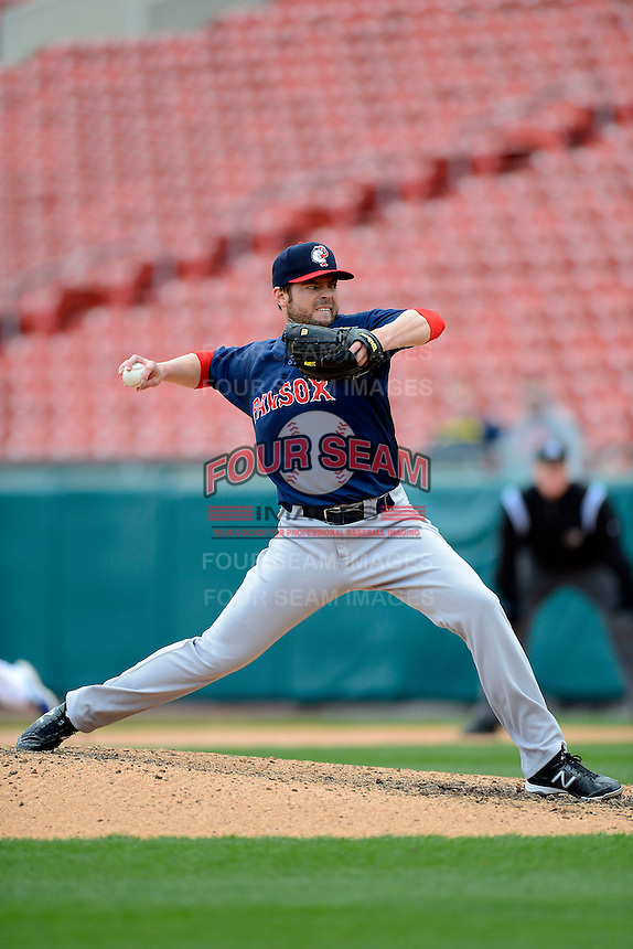 Pawtucket Red Sox pitcher Graham Godfrey #31 during the second game of a doubleheader against the Buffalo Bisons on April 25, 2013 at Coca-Cola Field in Buffalo, New York.  Buffalo defeated Pawtucket 4-0.  (Mike Janes/Four Seam Images)
