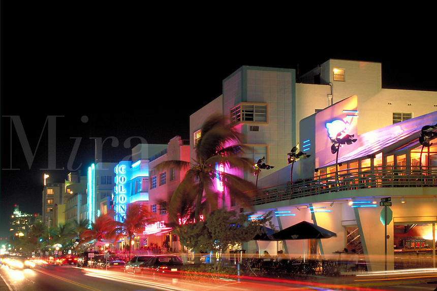 Ocean Drive at night from Wet Willie's to South Point. Ocean Drive, Miami Beach FL USA.