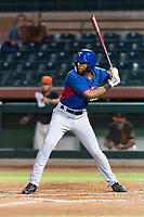 AZL Rangers left fielder Marcus Mack (17) at bat during an Arizona League game against the AZL Giants Black at Scottsdale Stadium on August 4, 2018 in Scottsdale, Arizona. The AZL Giants Black defeated the AZL Rangers by a score of 6-3 in the second game of a doubleheader. (Zachary Lucy/Four Seam Images)