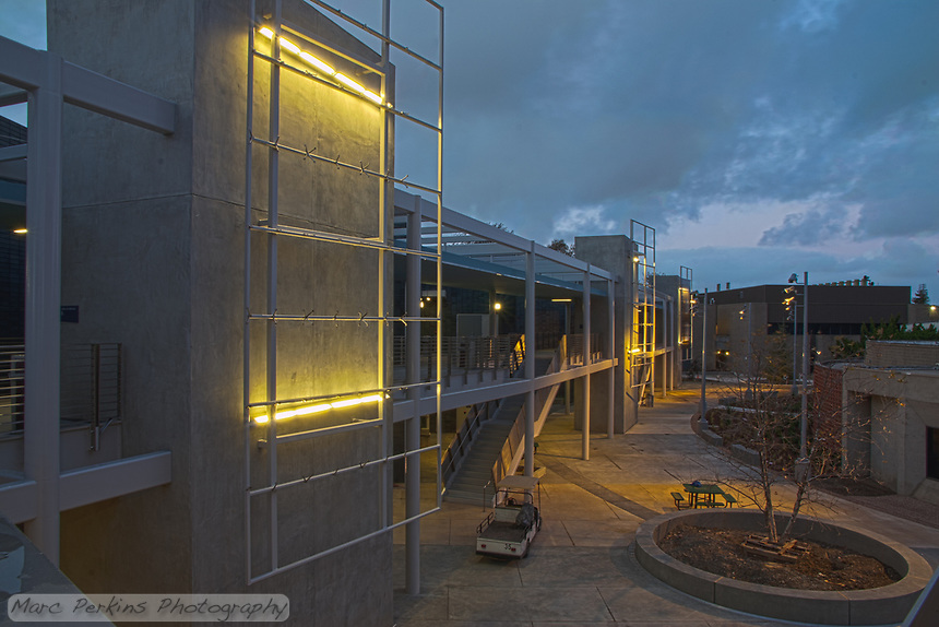 A view of Orange Coast College's new ABC building at sunset shortly before it was finished being built in January 2011.