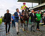 """OCTOBER 7, 2018 : Fourstar Crook, ridden by Irad Ortiz, wins the """"Win & You're In"""" Flower Bowl Stakes on Stakes Day at Belmont Park on October 6, 2018 in Elmont, NY.  Sue Kawczynski/ESW/CSM"""