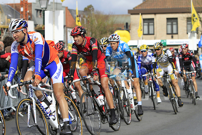 The chasing pelethon,including BMC team rider Alessandro Ballan, passes through the town of Torhout during the early part of the Tour of Flanders, 4th April 2010 (Photo by Eoin Clarke/NEWSFILE).