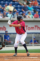 Pensacola Blue Wahoos third baseman Seth Mejias-Brean (5) at bat during the first game of a double header against the Biloxi Shuckers on April 26, 2015 at Pensacola Bayfront Stadium in Pensacola, Florida.  Biloxi defeated Pensacola 2-1.  (Mike Janes/Four Seam Images)