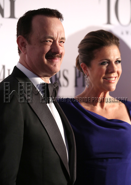 Tom Hanks, Rita Wilson arriving at the 67th Annual Tony Awards held at Radio City Music Hall in New York City on June 9, 2013