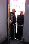Closing the Door for the Last time Franciscan Brothers Christie Regand and Tom Russell close the door after 700 years of the Franciscan's being in Drogheda, After a farwell mass at 12 o Clock Today.Picture Fran Caffrey Newsfile