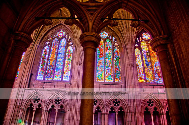 High-dynamic range imaging showcases the majesty and beauty of the architecture of the Washington National Cathedral in Washington, DC.