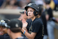 Wake Forest Demon Deacons batboy Eddie Papsun during the game against the West Virginia Mountaineers in Game Six of the Winston-Salem Regional in the 2017 College World Series at David F. Couch Ballpark on June 4, 2017 in Winston-Salem, North Carolina.  The Demon Deacons defeated the Mountaineers 12-8.  (Brian Westerholt/Four Seam Images)