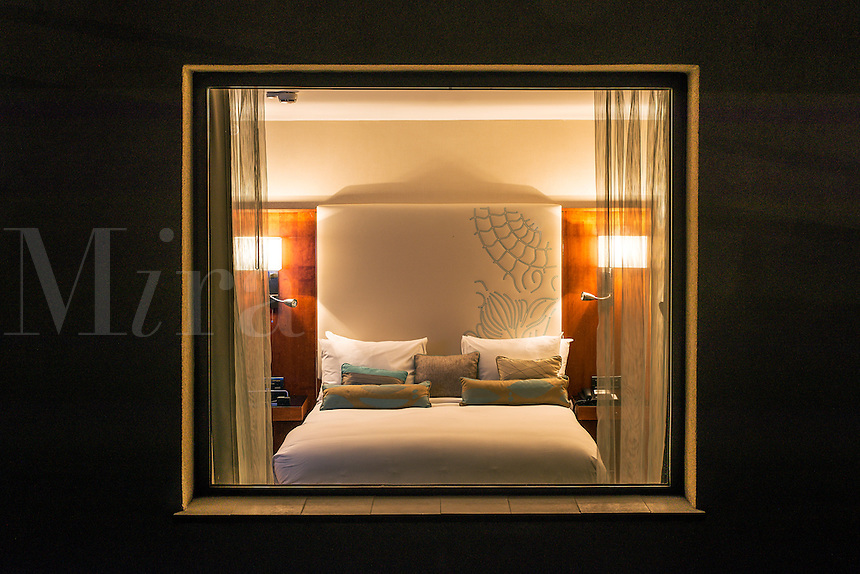Contemporary hotel room with large window, Spain