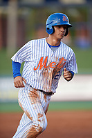St. Lucie Mets shortstop Andres Gimenez (12) runs the bases during the first game of a doubleheader against the Charlotte Stone Crabs on April 24, 2018 at First Data Field in Port St. Lucie, Florida.  St. Lucie defeated Charlotte 5-3.  (Mike Janes/Four Seam Images)