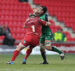 Connacht's John Muldoon is tackled by Scarlets' Phil John<br /> <br /> Rugby - Scarlets V Connacht - Guinness Pro12 - Sunday 15th Febuary 2015 - Parc-y-Scarlets - Llanelli<br /> <br /> &copy; www.sportingwales.com- PLEASE CREDIT IAN COOK