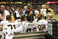 "File-Greg Williams, Defensive Coordinator for the New Orleans Saintshas been suspended indefiently from the NFL because of his ""bounty system"" he had in place while coaching for the Saints during ht e2009,2010 & 2011 NFL seasons. Coach Sean Payton was suspended for one year and General manager Mickey Loomis was suspended for 8 games for thier roles in the ""Bounty scandal"". File Photo of Defensive coach Greg Willams letting his defensive line know what to do during the Saints pre season game against the San Diego Chargers Friday Aug 27,2010. The San Diego charges cut Drew Brees a few years ago, allowing him to be picked uop by the Saints as a free agent. The Saints won 36-21 at half time.Photo© Suzi Altman According to an NFL investigation, from 2009 to 2011 the New Orleans Saints created an unseemly bounty system that rewarded defensive players for injuring opponents. The program, administered by Saints defensive coordinator Gregg Williams, financed by Saints players and strictly forbidden by the NFL, offered $1,000 for a hit that forced a player to be carted off to the sideline and $1,500 for one that knocked a player out of the game. PICTURED: Aug 27, 2010. GREGG WILLIAMS at the The Saints vs Chargers game in New Orleans..(Credit Image: © Suzi Altman According to an NFL investigation, from 2009 to 2011 the New Orleans Saints created an unseemly bounty system that rewarded defensive players for injuring opponents. The program, administered by Saints defensive coordinator Gregg Williams, financed by Saints players and strictly forbidden by the NFL, offered $1,000 for a hit that forced a player to be carted off to the sideline and $1,500 for one that knocked a player out of the game. PICTURED: Aug 27, 2010. GREGG WILLIAMS at the The Saints vs Chargers game in New Orleans. © Suzi Altman"