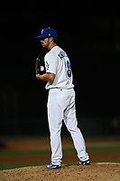 Rancho Cucamonga Quakes relief pitcher Isaac Anderson (18) looks to his catcher for the sign during a California League game against the Lake Elsinore Storm at LoanMart Field on May 19, 2018 in Rancho Cucamonga, California. Lake Elsinore defeated Rancho Cucamonga 10-7. (Zachary Lucy/Four Seam Images)