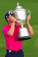 Justin Thomas (USA) kisses the trophy for winning the PGA Championship at the Quail Hollow Club in Charlotte, North Carolina. 8/13/2017.<br /> Picture: Golffile | Ken Murray<br /> <br /> <br /> All photo usage must carry mandatory copyright credit (&copy; Golffile | Ken Murray)