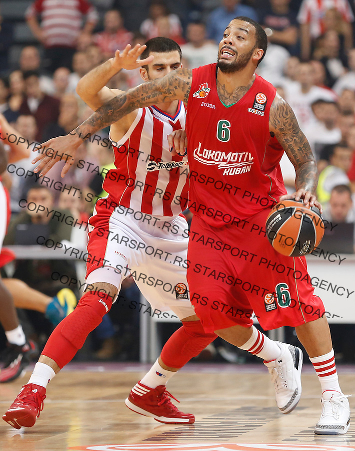 Kosarka Euroleague season 2013-2014<br /> Crvena zvezda v lokomotiva Kuban<br /> Euroleague<br /> Branko Lazic (L) and Marcus Williams (R)<br /> Beograd, 17,10.2013.<br /> foto: Srdjan Stevanovic/Starsportphoto &copy;
