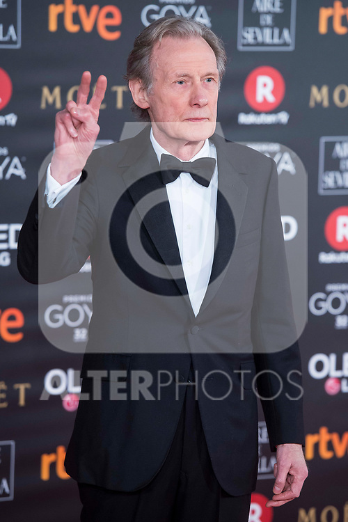 Bill Nighy attends red carpet of Goya Cinema Awards 2018 at Madrid Marriott Auditorium in Madrid , Spain. February 03, 2018. (ALTERPHOTOS/Borja B.Hojas)
