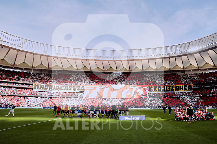 Atletico de Madrid's players and Real Madrid's players during La Liga match between Atletico de Madrid and Real Madrid at Wanda Metropolitano Stadium in Madrid, Spain. February 09, 2019. (ALTERPHOTOS/A. Perez Meca)
