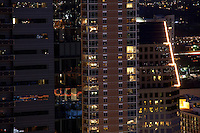 Unique contemporary Skycrapers, residential condos, and office towers neon lights make the modern Austin Skyline Sparkle