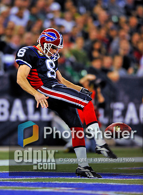 7 December 2008: Buffalo Bills' punter Brian Moorman kicks one against the Miami Dolphins in the first regular season NFL game ever played in Canada. The Dolphins defeated the Bills 16-3 at the Rogers Centre in Toronto, Ontario. ..Mandatory Photo Credit: Ed Wolfstein Photo