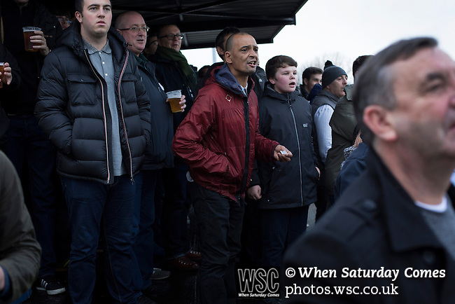 City of Liverpool 6 Holker Old Boys 1, 10/12/2016. Delta Taxis Stadium, North West Counties League Division One. Home supporters in the shed watching the early action at the Delta Taxis Stadium, Bootle, Merseyside as City of Liverpool hosted Holker Old Boys in a North West Counties League division one match. Founded in 2015, and aiming to be the premier non-League club in Liverpool, City were admitted to the League at the start of the 2016-17 season and were using Bootle FC's ground for home matches. A 6-1 victory over their visitors took 'the Purps' to the top of the division, in a match watched by 483 spectators. Photo by Colin McPherson.