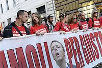 Roma, 24 Ottobre 2014<br /> Sciopero e manifestazione dell'USB contro il jobs act e la legge di stabilit&agrave; del governo Renzi.<br /> Lavoratrici e lavoratori della compagnia Meridiana