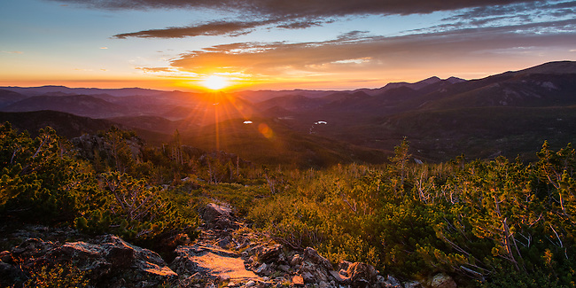 early morning in summer along the trail across Flattop Mtn,  Rocky Mountain National Park, Colorado, USA