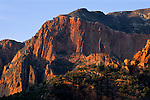 Sunset light on red rock sandstone cliffs as seen from the Kolob Canyons Road, Kolob Canyons, Zion National Park, UTAH