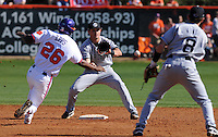 Clemson's Chris Epps (26) is tagged out at second by University of South Carolina shortstop Reese Havens (6) on a feed from second baseman Scott Wingo (8) in a game between the Clemson Tigers and USC Gamecocks on March 2, 2008, at Doug Kingsmore Stadium in Clemson. Photo by: Tom Priddy/Four Seam Images