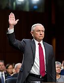 """United States Attorney General Jeff Sessions is sworn-in to testify before the US Senate Select Committee on Intelligence to  """"examine certain intelligence matters relating to the 2016 United States election"""" on Capitol Hill in Washington, DC on Tuesday, June 13, 2017.  In his prepared statement Attorney General Sessions said it was an """"appalling and detestable lie"""" to accuse him of colluding with the Russians.<br /> Credit: Ron Sachs / CNP<br /> (RESTRICTION: NO New York or New Jersey Newspapers or newspapers within a 75 mile radius of New York City)"""