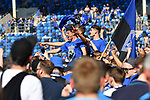 20.04.2019, Carl Benz Stadion, Mannheim, GER, RL Sued, SV Waldhof Mannheim vs. VfR Wormatia Worms, <br /> <br /> DFL REGULATIONS PROHIBIT ANY USE OF PHOTOGRAPHS AS IMAGE SEQUENCES AND/OR QUASI-VIDEO.<br /> <br /> im Bild: von links: Jannik Sommer (SV Waldhof Mannheim #20), Maurice Deville (SV Waldhof Mannheim #14), Sinisa Sprecakovic (SV Waldhof Mannheim #27) jubelt ueber den Aufstieg inmitten der Fans<br /> <br /> Foto © nordphoto / Fabisch