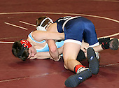Steven Rodrigues and Nick Meinsen wrestle at the 103 weight class during the NY State Wrestling Championships at Blue Cross Arena on March 8, 2008 in Rochester, New York.  (Copyright Mike Janes Photography)