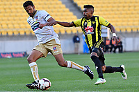 Newcastle Jets' Nikolai Topor-Stanley and Wellington Phoenix' Roy Krishna in action during the A League - Wellington Phoenix v Newcastle Jets at Westpac Stadium, Wellington, New Zealand on Sunday 21 October  2018. <br /> Photo by Masanori Udagawa. <br /> www.photowellington.photoshelter.com