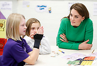 05 February 2019 - London - Kate Duchess of Cambridge Katherine Catherine Middleton meets pupils at Lavender Primary School in support of Place2Bes Childrens Mental Health Week 2019 in London. Place2Be, of which Her Royal Highness is Patron, is a leading UK children's mental health charity providing in-school support and expert training to improve the emotional wellbeing of pupils, families, teachers and school staff.. Photo Credit: ALPR/AdMedia