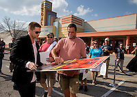 Aug. 29, 2013; Avon, IN, USA: NHRA Movie actor Richard Blake signs autographs for fans prior to the premiere of Snake & Mongoo$e at the Regal Shiloh Crossing Stadium 18. Mandatory Credit: Mark J. Rebilas-