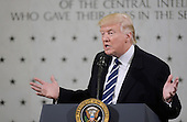 "United States President Donald Trump speaks to  300 people at the Central Intelligence Agency (CIA) headquarters January 21, 2017 in Langley, Virginia.  In his remarks Trump explained the CIA was his first visit because the ""dishonest media"" has made it appear he was having a feud with the intelligence community.<br /> Credit: Olivier Douliery / Pool via CNP"
