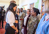 06/11/2019 - Meghan Markle Duchess of Sussex and Prince Harry Duke of Sussex, during a visit to Broom Farm Community Centre in Windsor. The Duke and Duchess of Sussex attended a coffee morning with families of deployed Army personnel at the Centre. Photo Credit: ALPR/AdMedia