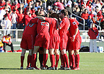 16 December 2007: Ohio State's starters huddle before the game. The Wake Forest University Demon Deacons defeated the Ohio State Buckeyes 2-1 at SAS Stadium in Cary, North Carolina in the NCAA Division I Mens College Cup championship game.