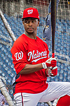7 October 2017: Washington Nationals outfielder Victor Robles awaits his turn in the batting cage prior to the second game of the NLDS against the Chicago Cubs at Nationals Park in Washington, DC. The Nationals rallied to defeat the Cubs 6-3 and even their best of five Postseason series at one game apiece. Mandatory Credit: Ed Wolfstein Photo *** RAW (NEF) Image File Available ***