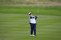 Megan Khang of Team USA on the 2nd fairway during Day 2 Foursomes at the Solheim Cup 2019, Gleneagles Golf CLub, Auchterarder, Perthshire, Scotland. 14/09/2019.<br /> Picture Thos Caffrey / Golffile.ie<br /> <br /> All photo usage must carry mandatory copyright credit (© Golffile | Thos Caffrey)