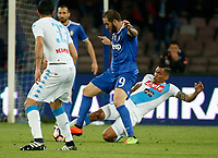 Gonzalo Higuain  and Miguel Allan  during the  italian serie a soccer match,between SSC Napoli and Juventus       at  the San  Paolo   stadium in Naples  Italy , April 02, 2017