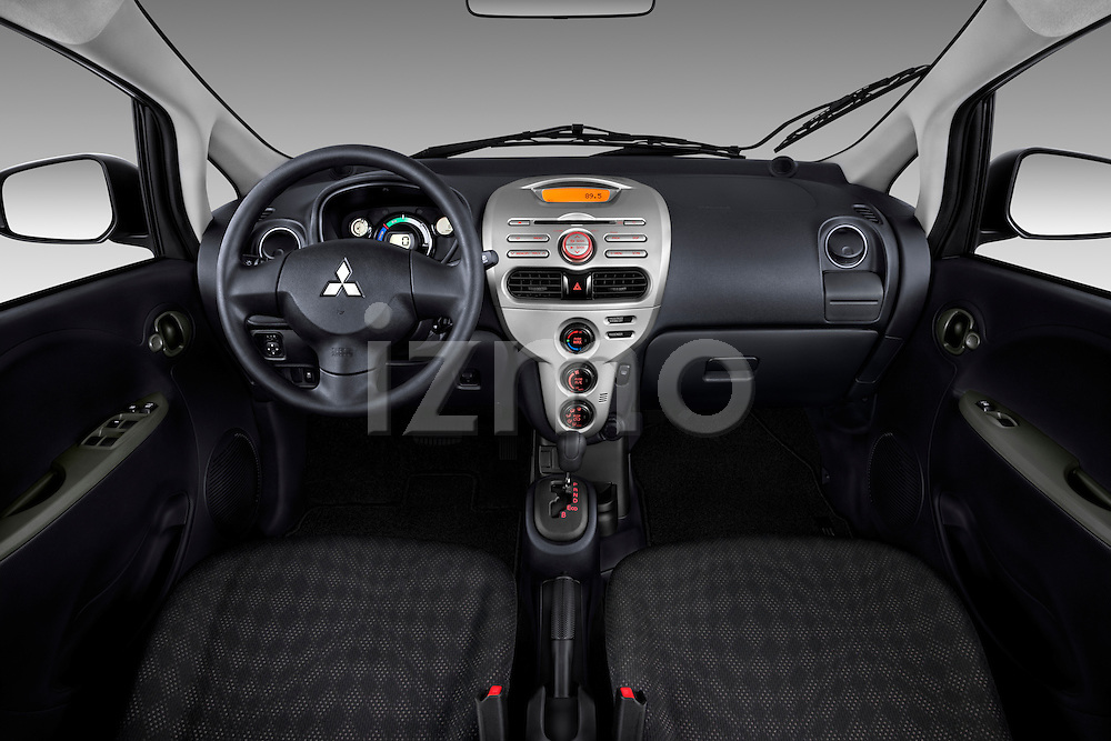Straight dashboard view of a 2012 Mitsubishi MiEV ES.
