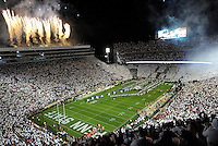 22 October 2016:  Team runs onto the field with flags and fireworks during the 10th ever whole stadium white out. The Penn State Nittany Lions upset the #2 ranked Ohio State Buckeyes 24-21 at Beaver Stadium in State College, PA. (Photo by Randy Litzinger/Icon Sportswire)