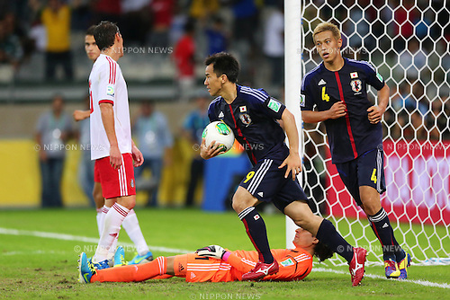 (L to R) Shinji Okazaki, Keisuke Honda (JPN), <br /> June 22, 2013 - Football / Soccer : <br /> FIFA Confederations Cup Brazil 2013, Group A <br /> match between Japan 1-2 Mexico <br /> at Estadio Mineirao, Belo Horizonte, Brazil. <br /> (Photo by Daiju Kitamura/AFLO SPORT) [1045]