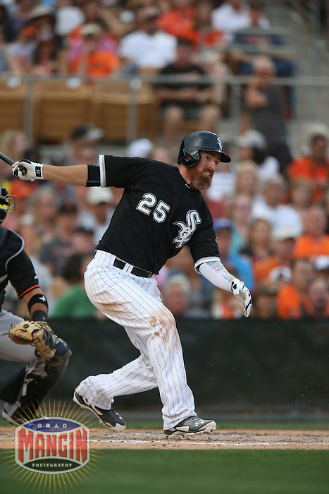 GLENDALE, AZ - MARCH 12:  Adam LaRoche of the Chicago White Sox bats against the San Francisco Giants during a spring training game at Camelback Ranch on March 12, 2015 in Glendale, Arizona. (Photo by Brad Mangin)