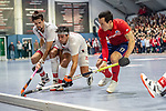 Mannheim, Germany, January 08: During the 1. Bundesliga men indoor hockey match between TSV Mannheim and Mannheimer HC on January 8, 2020 at Primus-Valor Arena in Mannheim, Germany. Final score 5-4. (Photo by Dirk Markgraf / www.265-images.com) *** (left to right) Philip Schlageter #10 of TSV Mannheim, Aki Kaeppeler #22 of TSV Mannheim, Patrick Harris #17 of Mannheimer HC