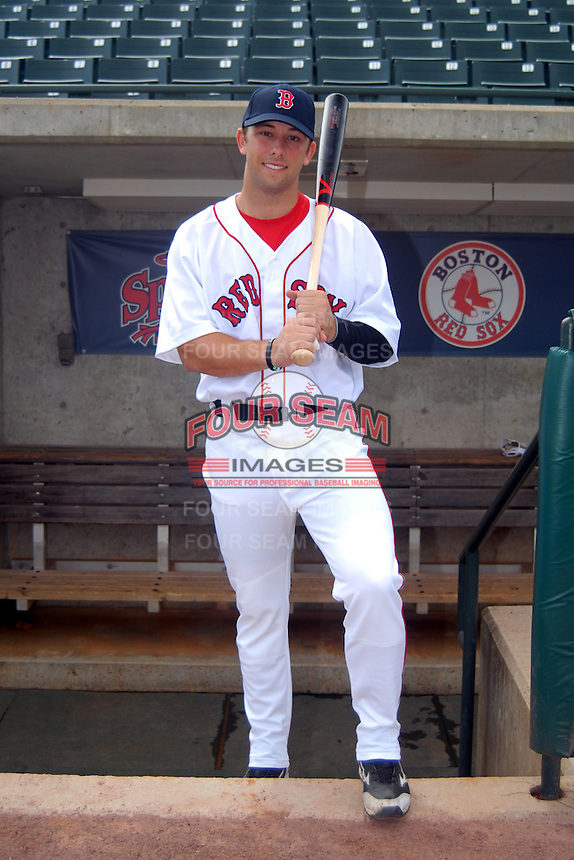 Lowell Spinners outfielder Forrest Allday #24, the Boston Red Sox 8th round pick in the 2013 draft, poses for a photo prior to a game versus the Hudson Valley Renegades at LeLacheur Park in Lowell, Massachusetts on August 18, 2013.  (Ken Babbitt/Four Seam Images)