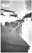 Two engines pushing plow-flanger across trestle in Gallagher area (?)<br /> RGS  Gallagher area ?, CO